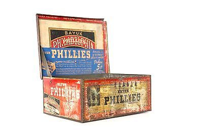Vintage-1930s-Bayuk-Phillies-Philadelphia-Cigar-Tin-5-Cent-Box-Tobacciana