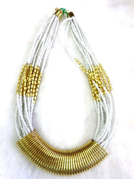 Statement Necklace/ white Necklace/Multi Strand Necklace/Chunky Necklace/Beaded Necklace/Bib Necklace/Beaded Jewelry , gypsy style handmade