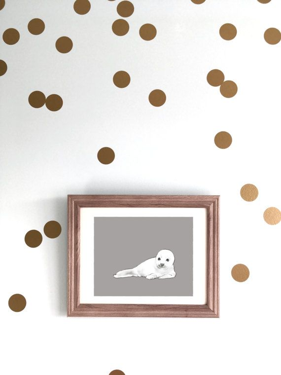 Modern Animal Nursery Art - Seal Pup -Gender Neutral wall decor by CubsandKids