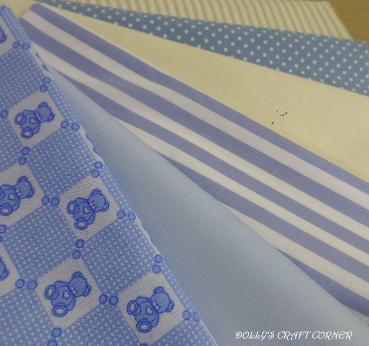 Fett Quartal Bündel Blau/Elfenbein Baby-jungen-kinderzimmer Teddy-100% BAUMWOLLE