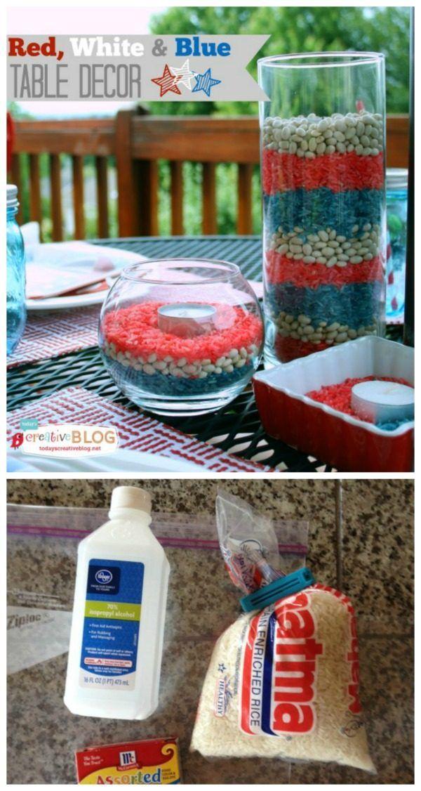 easy red white blue patriotic decor - Patriotic Decorations