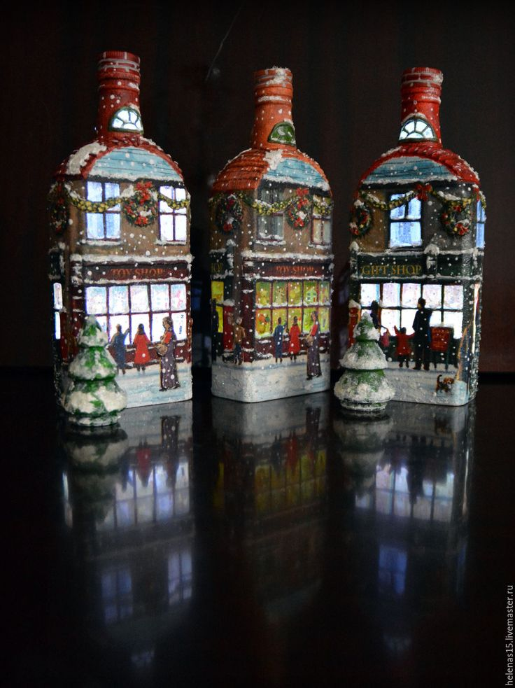 Купить Рождественский домик, бутылка-светильник Снег идет, 3D декупаж - коричневый, рождество