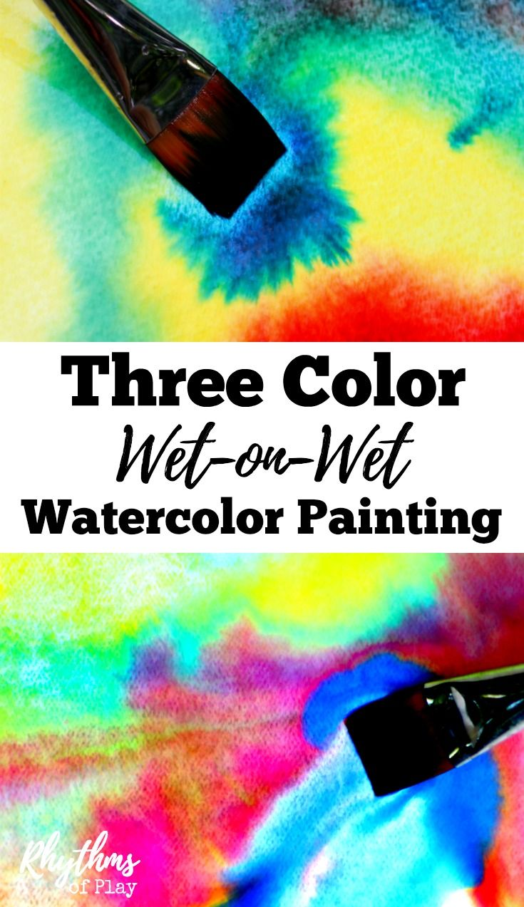 Three color wet-on-wet watercolor painting is a simple art activity to help…
