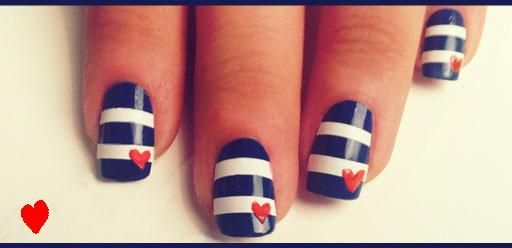 Nautical Mani: Heart Nails, Nails Art, Nautical Fun, Nails Design, Cute Nails, Sailors Nails, Nautical Theme, Stripes Nails, Nautical Nails