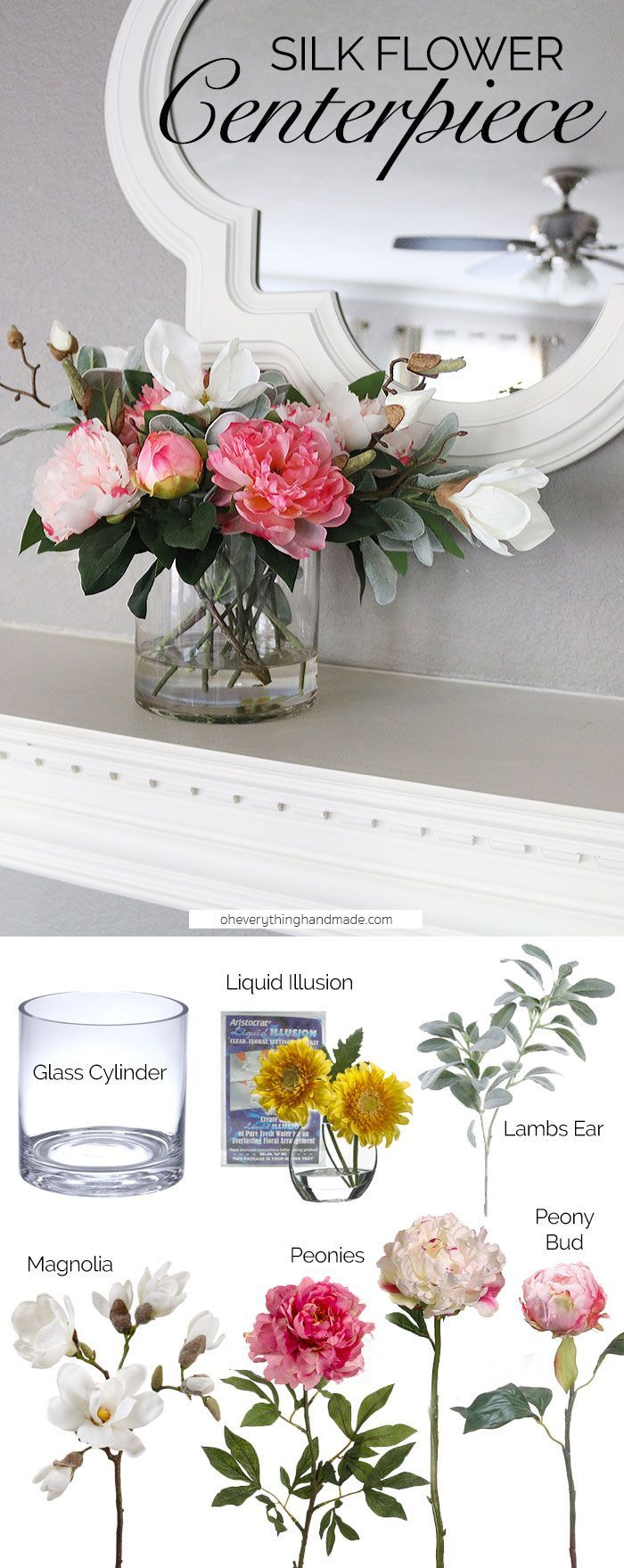 Make a gorgeous silk flower arrangement for your mantle or dining table with faux flowers and liquid illusion from http://afloral.com. Design by Oh Everything Handmade. #diy