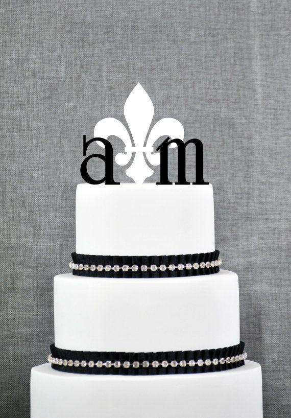 Schildersmonogram bruidstaart Topper door ChicagoFactoryDesign