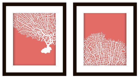 STUNNING nautical coral bathroom artwork. Can't you see these salmon sea fan coral DIY prints in some modern bathroom?  #nautical #coral #salmon #bathroom #artwork #art #decor #bespokeprints #modern