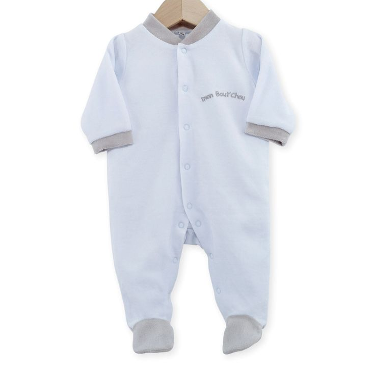 """Pyjama naissance en velours bleu ciel """"mon bout de chou""""  #Pyjama #Naissance #garcon #leskinousses"""