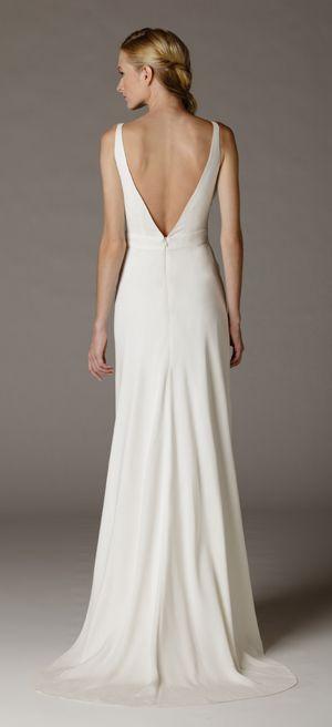 Low back silk crepe wedding dress by Aria. Made in USA. www.ariadress.com