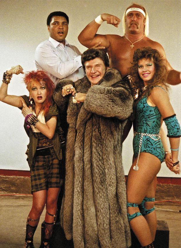 how did this even happen?? Ali, Hulk Hogan, Cyndi Lauper...Liberace and wrestling babe Wendy Richter.