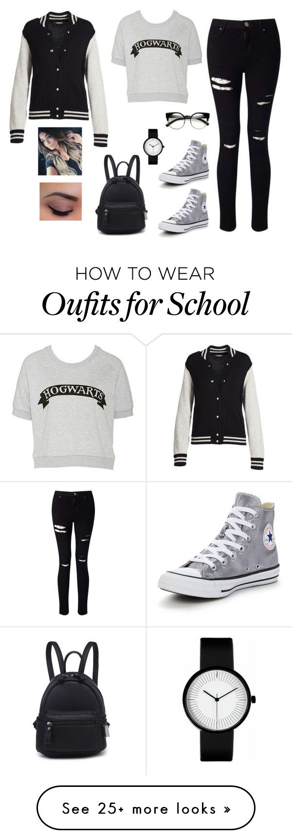 """""""first day of school (#6)"""" by deppychrysohoou on Polyvore featuring Miss Selfridge, Converse and Marc Jacobs"""