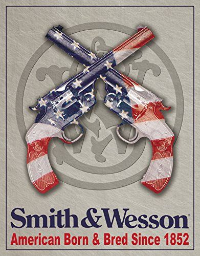 Smith  Wesson  American Born Metal Tin Sign 125W x 16H  12x16 *** Read more reviews of the product by visiting the link on the image.