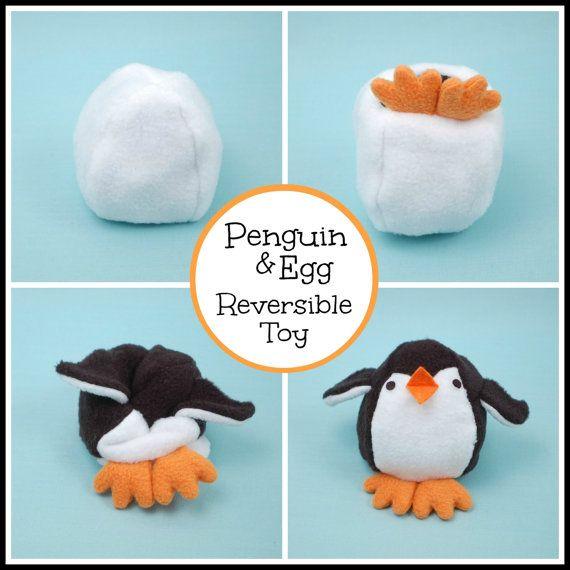 Pinguin & Ei Reversible Softie PDF-Schnittmuster von whileshenaps
