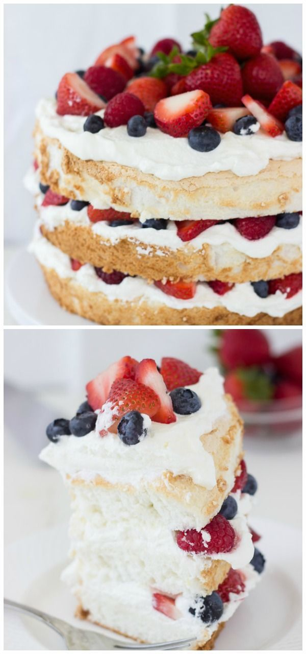 Angel Food Cake with Coconut Whipped Cream and Berries