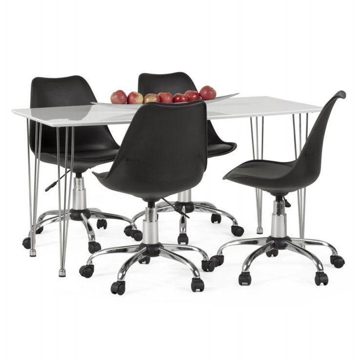 La Chaise De Bureau Design PAUL En Polyurethane Et Métal Chromé (noir)  Possède Une Assise Rembourrée Qui Assure Un Confort Optimal.