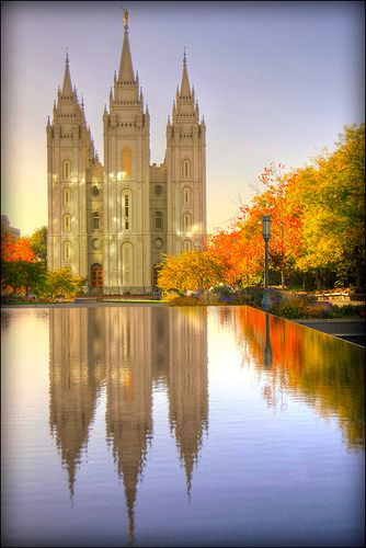 The LDS temple in Salt Lake City during fall. Learn more at Mormon.org