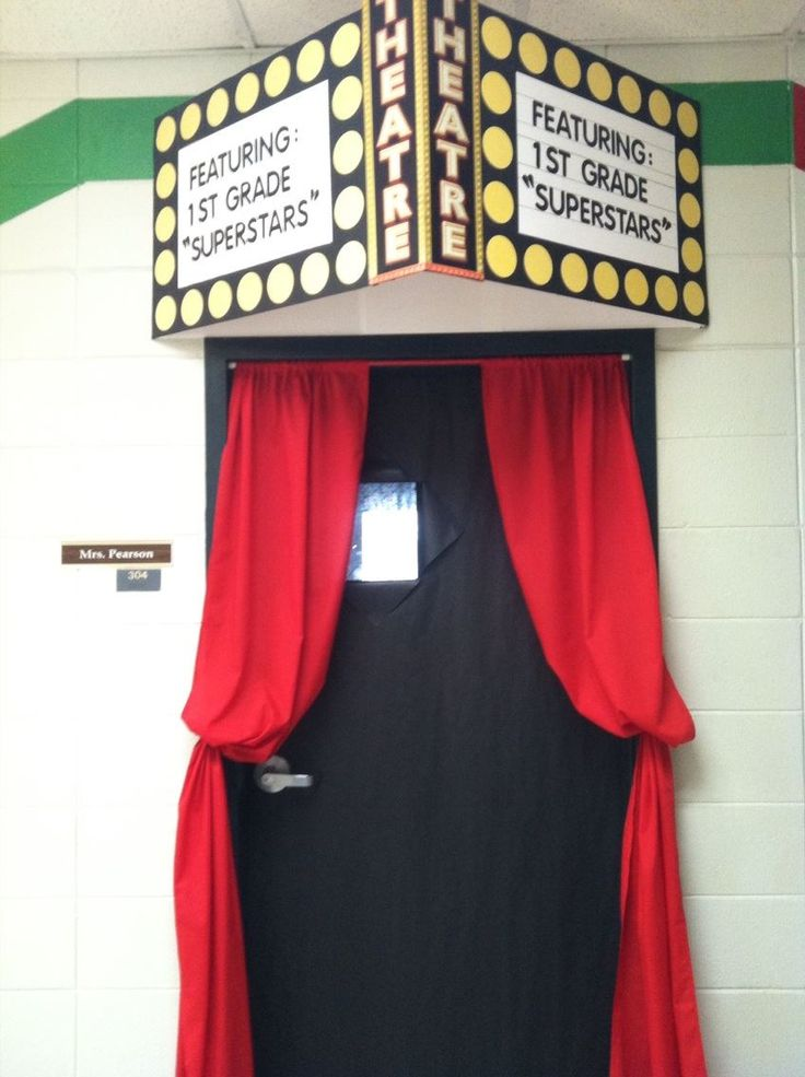 Hollywood Themed classroom door - pinned this for red curtains for window