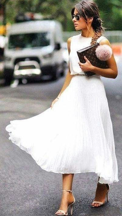 white maxi pleated skirt with a white blouse and heels. Visit Daily Dress Me at …