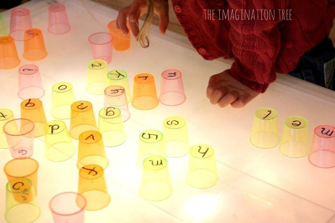 letters on clear cups for light table