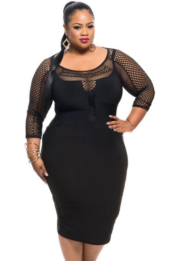 plus size fishnet lingerie | Black Plus Size Fishnet Detail Long Sleeve Bodycon Dress