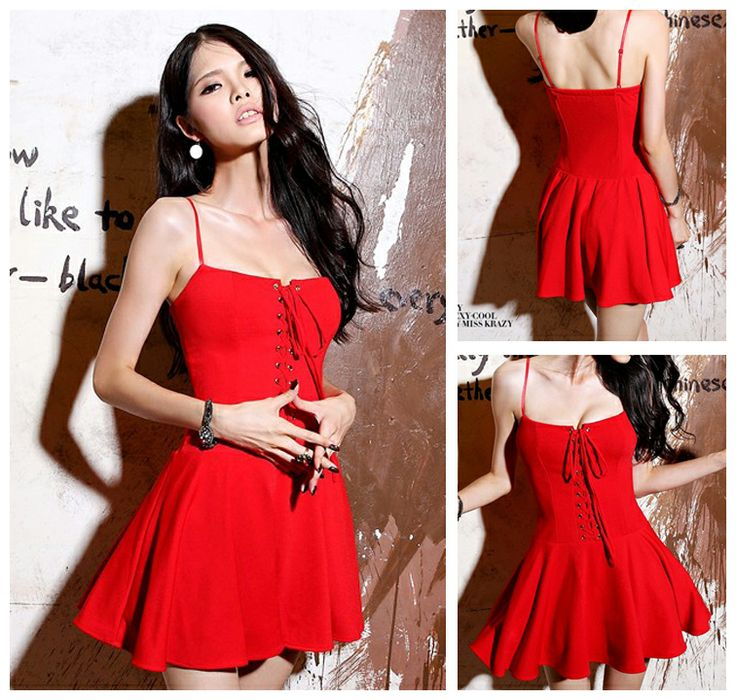 Youthful Red Cotton Pleated Mini Sexy Style Day To Night Dress