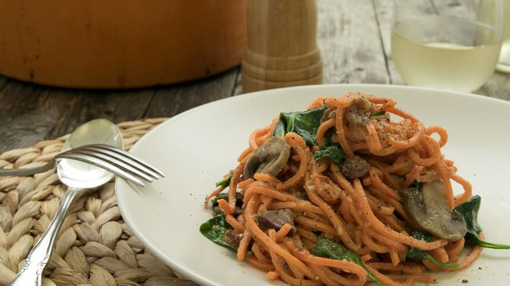 Ready to try vegetable noodles? This spiralizer recipe turns sweet potatoes into long pasta-like strands for a healthy, veggie-packed version of classic spaghetti carbonara. Get the recipe for Sweet Potato Carbonara with Spinach & Mushrooms.