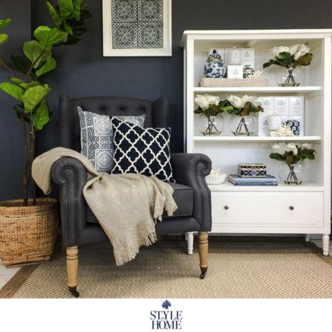 'HARRIET' Charcoal Linen Arm Chair