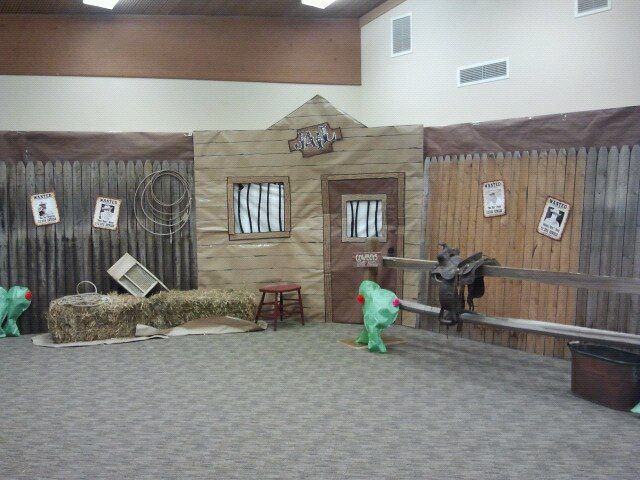 the wild west jail...we used an old hose covered in black duct tape for the jail bars...