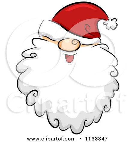 Cartoon of a Happy Bearded Santa Face with His Hat over His Eyes ...
