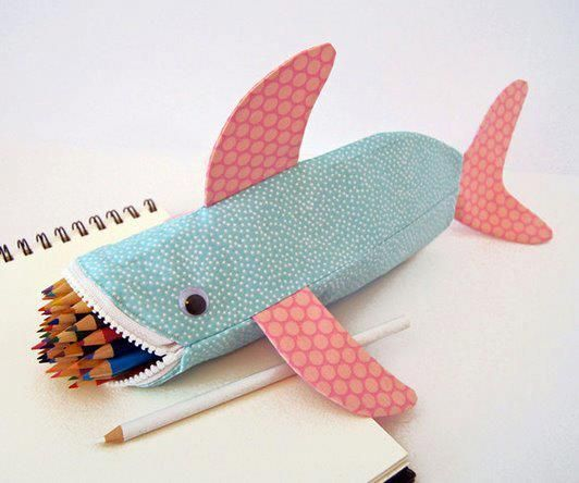 Totally awesome - shark pencil pouch.  Zoey will go to kindergarten with this.