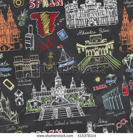 Spain Doodle landmarks.Vector famous architectural symbols,cityscape,hand drawn travel sketch.Vacation icon,sign,Spanish historical monument,lettering.The Spanish word for Hello, Palace