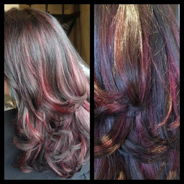 Red violet highlights by @Katie Rossi | Amazing hair cuts and colors ...