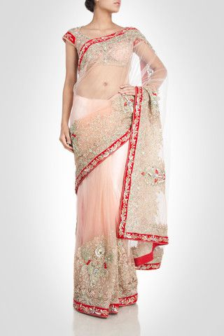 Light peach color net saree – Panache Haute Couture