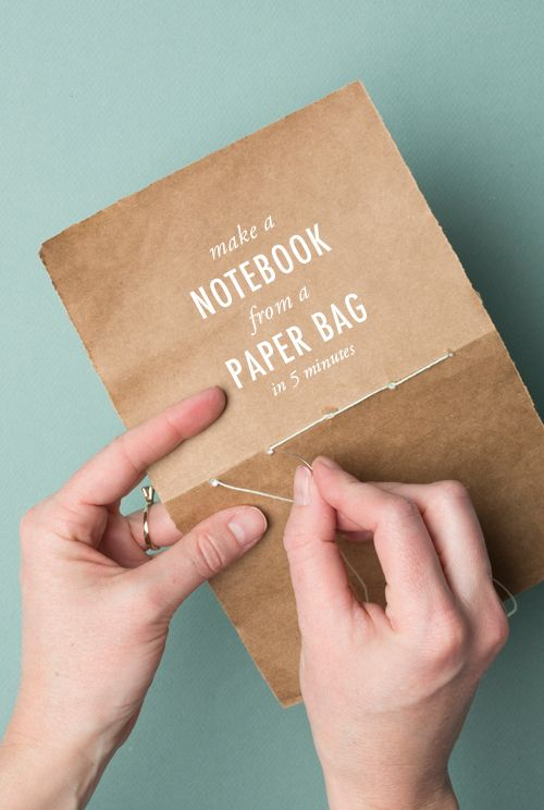 Make a notebook from a paper bag in 5 minutes. #notebook #craft #diy
