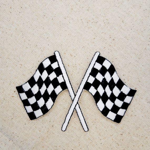 Course drapeau - damier noir et blanc - brodé Patch - fer sur Appliqué - grand - 696781A