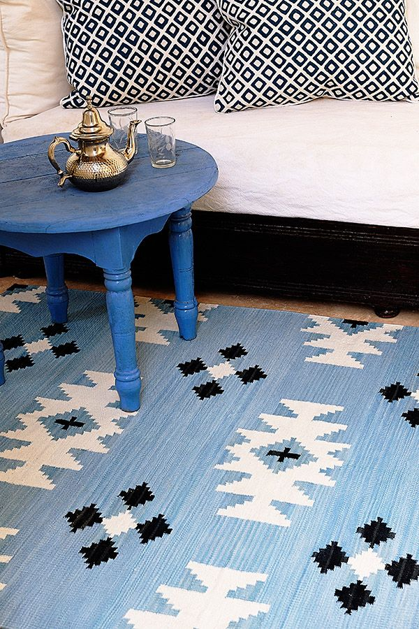 Udaipur Blue dhurrie by The Rug Company