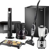 Insignia™ - Black Countertop Microwave, Mini Fridge, 2-in-1 Vacuum, Heater, Coffee Maker, Electric Griddle and Blender Package