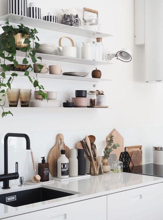 Modern Scandinavian kitchen, black and white interior design with - modern küche design