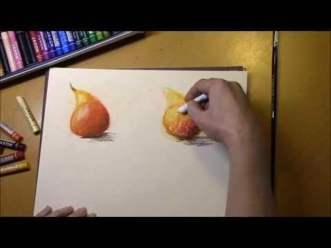 Масляная пастель - основные приемы