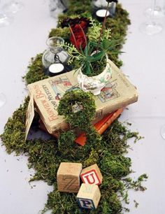 Create A Moss Table Runner With Colorful Leaves, Pinecones Or Wild Flowers  For That Perfect