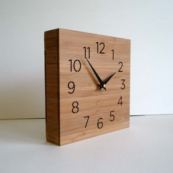 Modern clock, wooden box, wall or desktop clock, simple design, square clock …