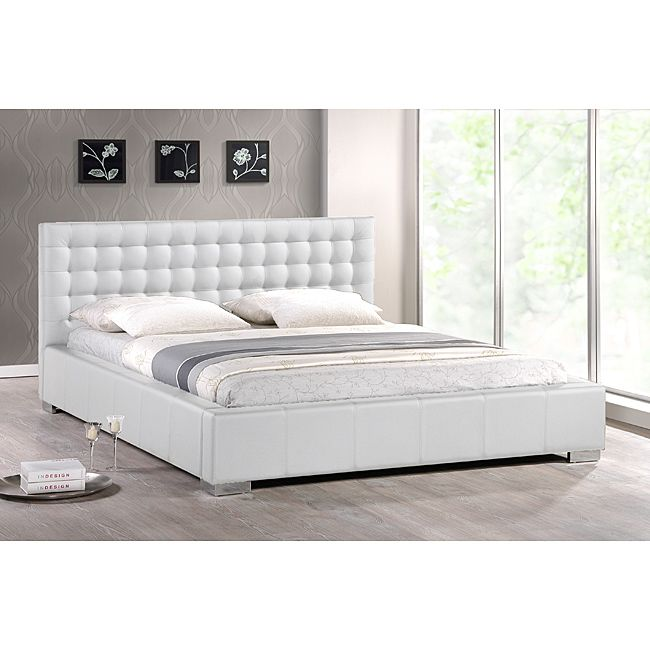 baxton studio madison modern king size bed with upholstered headboard - White Queen Bed Frame