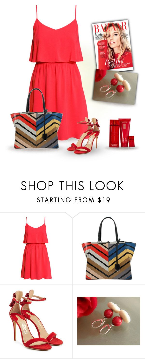 """Red Dress"" by styledonna on Polyvore featuring moda, H&M, Fendi, Salvatore Ferragamo i Elizabeth Arden"