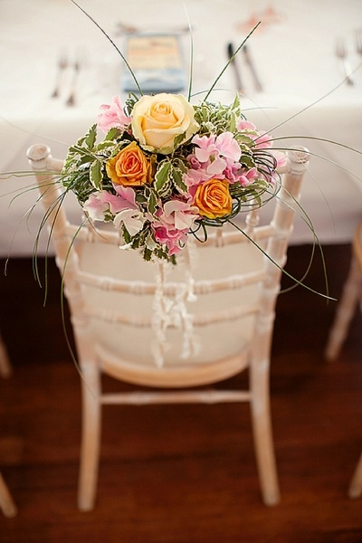 wedding decor, chair hire, chivari chairs, ladderback chairs, floral chair ties