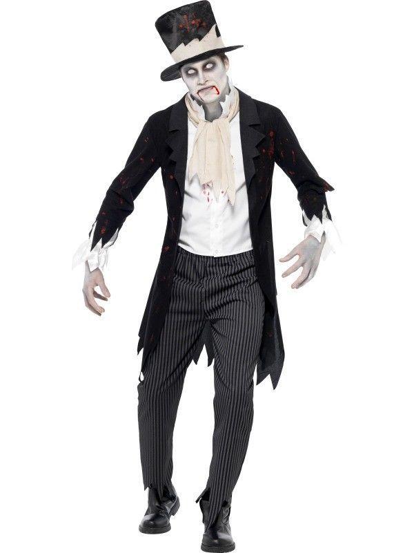 MAKE-UP Deluxe Zombie Groom Undead Mens Adult Halloween Fancy Dress COSTUME