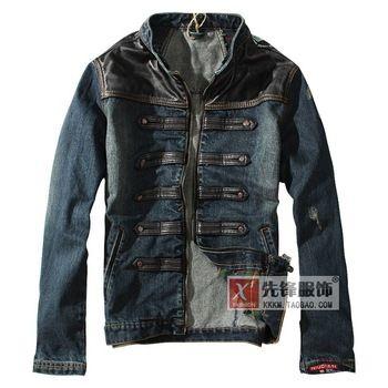 springr 2013 herenkleding denim jasje patchwork leren jas mannen bovenkleding slanke mannen' s jassen wiht gratis verzending m-xxl