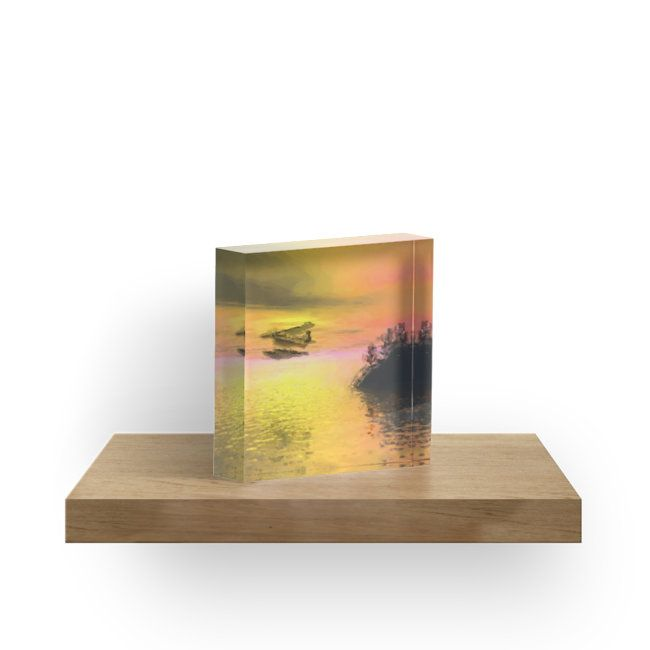 A seaplane flying past a lightly treed outcrop at sunset. • Also buy this artwork on home decor, apparel, phone cases, and more.