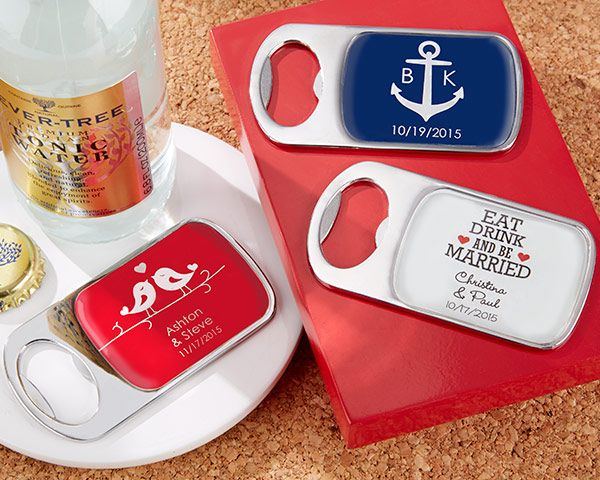 Our Bottle Opener Wedding Favors with Epoxy Dome are full of pizazz as it is, but you can add even more custom flair to these practical gifts by personalizing them for your wedding or event