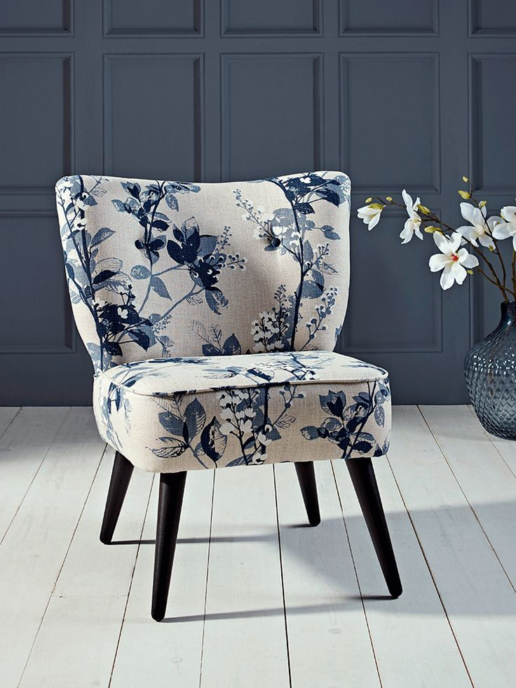Laverton Chair - Blue Floral - new in and available late Feb - beautiful hand-crafted compact accent chair
