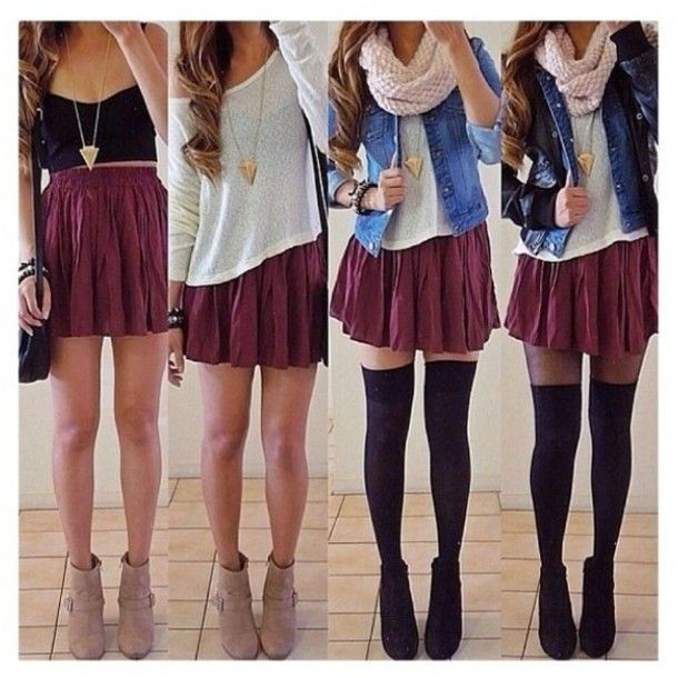 skirt burgundy fall denim sweater warm scarf wool comfy knee high socks over the knee combat boots white shoes pants jewels tank top jacket ...